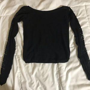 Free People Lace Sleeve Criss Cross Sweater